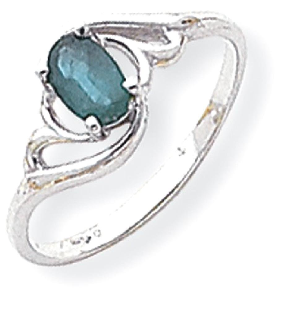 ICE CARATS 14k White Gold Green Emerald Band Ring Size 6.00 Stone Gemstone Fine Jewelry Gift Set For Women Heart