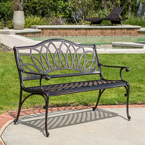 Cast Aluminum Garden Bench (Velda Outdoor Cast Aluminum Bench)