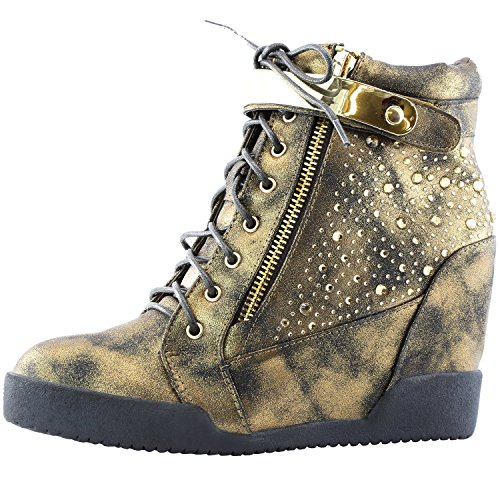 Nature Breeze Women's Spiky Studded Lace up Side Zip Wedge Ankle Bootie TTPF15, 6