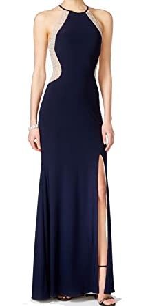 Xscape Womens Petite Embellished Contrast Prom Gown Dress Blue 8P