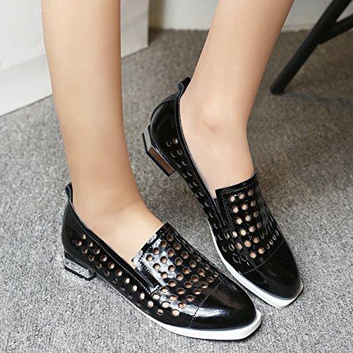 Minivog Womens Amandel Teen Meshed Flats Loafer Schoen Zwart