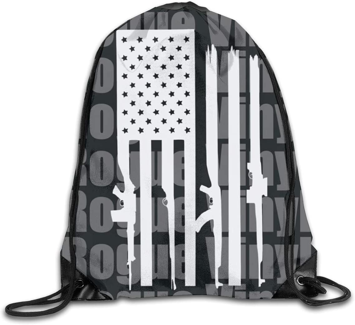 Partrest American Flag Rifle Black White Drawstring Backpack Bag Portable Reusable For Swimming//Exercising//Hiking 14.216.9 Inch
