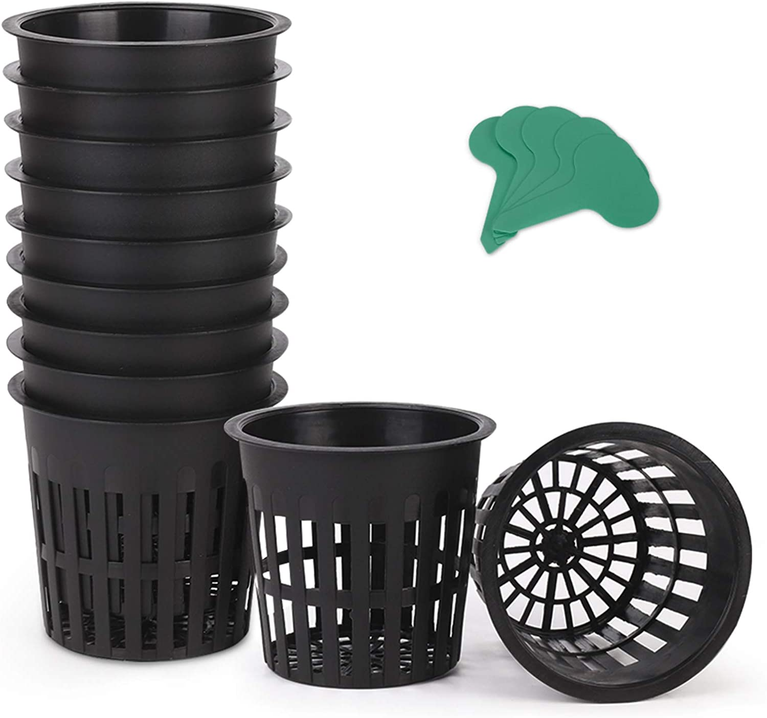 GROWNEER 100 Packs 4 Inches Net Cups Slotted Mesh Wide Lip with 10 Pcs Plant Labels Heavy Duty Filter Plant Net Pot Bucket Basket for Hydroponics Garden Containers