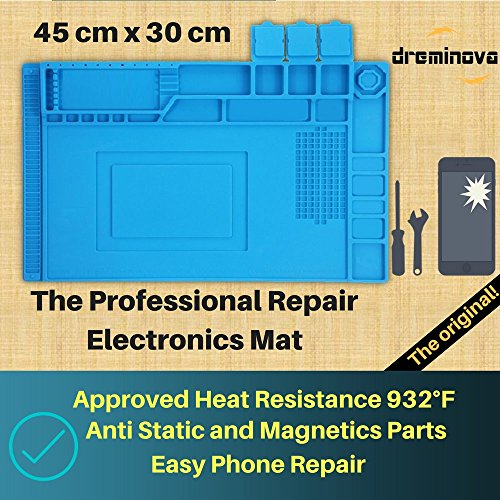 DREMINOVA Heat soldering Mat Large Pad (45x30cm) Repair Silicone Magnetic Work Mat For Cellphone, Electronics, Computer, Watch, Iron, Gun BGA, Resistant Solder Station, Welding, Platform Workbench by DREMINOVA (Image #2)