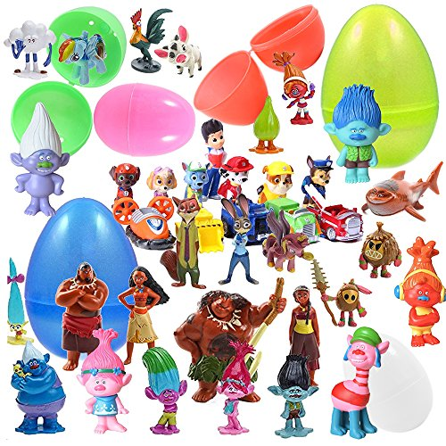 12 Plastic Easter Eggs With Figurines - Zootopia, Trolls , M
