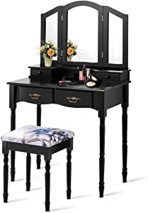 Vanity Set, WATERJOY Tri-Folding Mirror Makeup Vanity Table Set with Cushioned Stool Mirror Table Set Home Furniture 4 Drawer (Black)