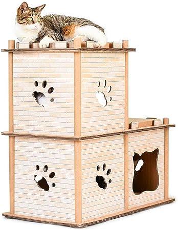 Pet Elf Tabla de rascar para Gatos de Papel Corrugado con diseño de Elfo de Mascota, Marco de Escalada para Gatos, Escalera de Dos Niveles, casa para Gatos: Amazon.es: Productos para mascotas