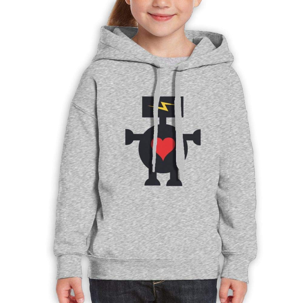 Qiop Nee Funny Robot with Heart and Lightning Kids Hoody Long Sleeve Sweatshirt Girls'