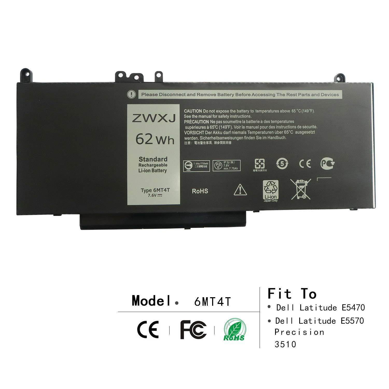 ZWXJ Laptop Battery Type 6MT4T (7.6V 62Wh) for Dell Latitude E5470 E5570 Precision 3510 0HK6DV 079Vrk 79Vrk TXF9M 0TXF9M Notebook 15.6''