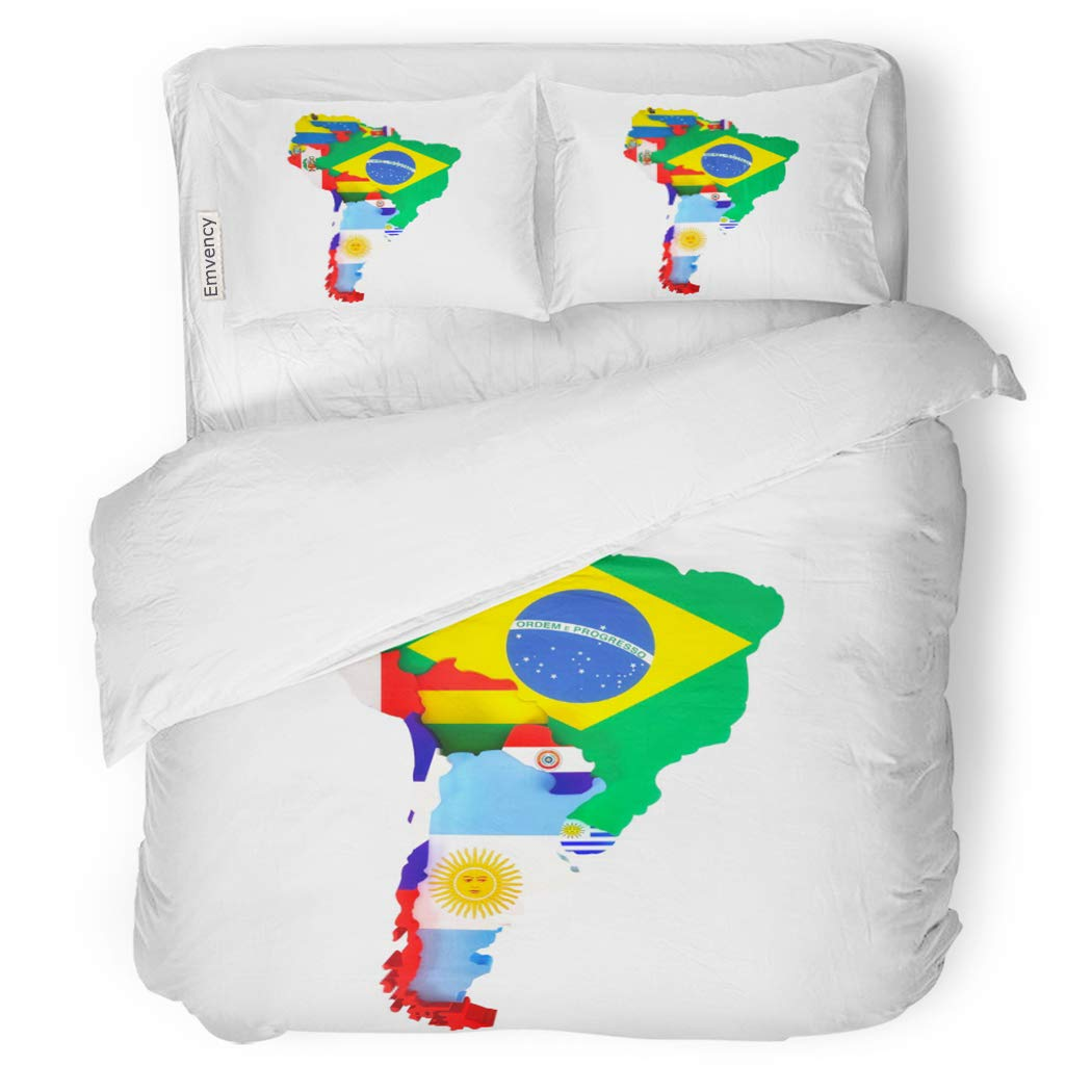 SanChic Duvet Cover Set Colorful South America Map Countries and Capital Cities Decorative Bedding Set with 2 Pillow Shams Full/Queen Size