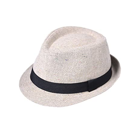 83bc949dab1 KTYX Retro Contrast Panama Men s Cap Jazz Hat Topper Student Summer Brown  Sunscreen Straw Hat Summer Hat (Color   3 )  Amazon.co.uk  Kitchen   Home