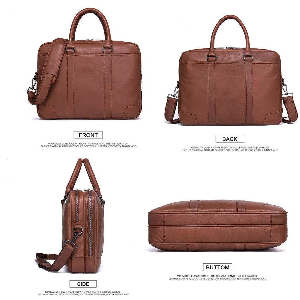 Messenger bag Leather Shoulder Bag Multi-Function Handbag Notebook Bag Fashion Color : Black
