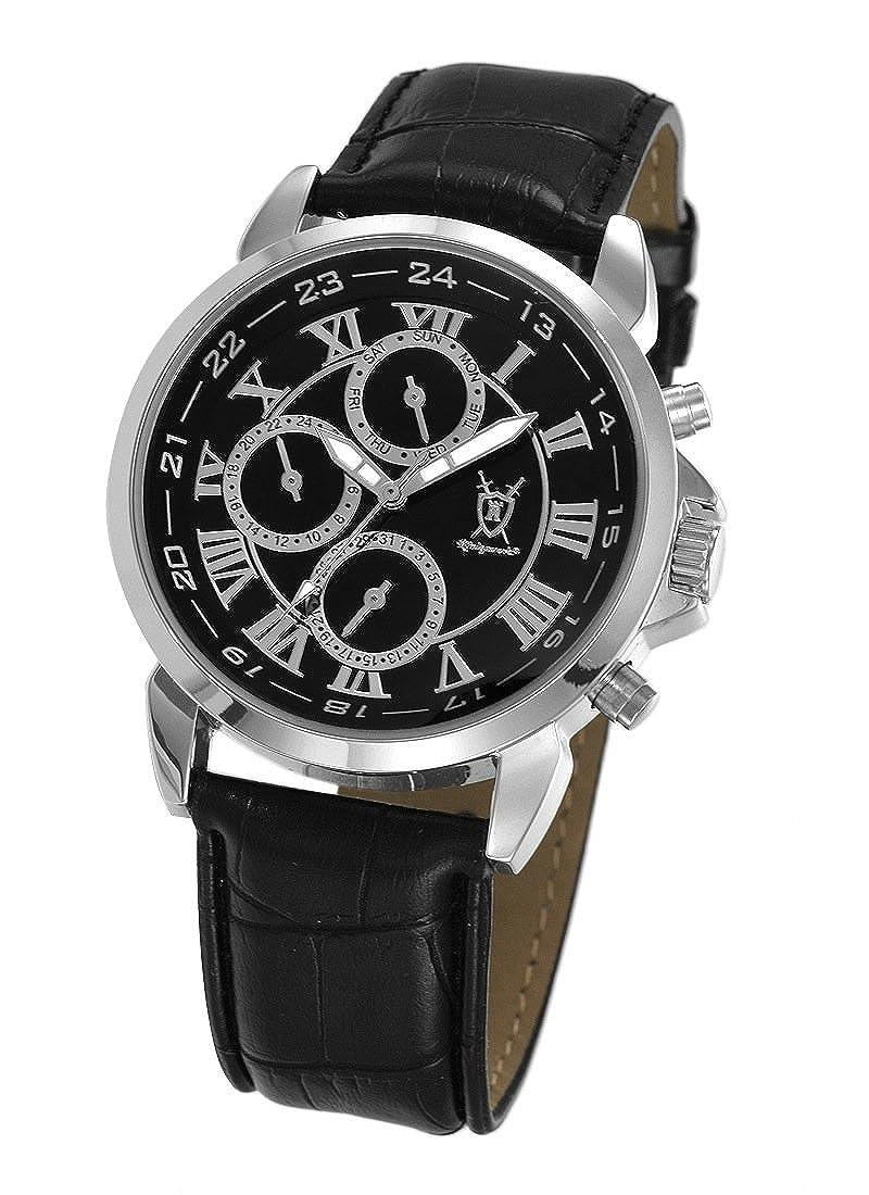 Amazon.com: Konigswerk Mens Black Leather Watch Roman Numerals Multifunction Day Date Display AQ202575G: Konigswerk: Watches