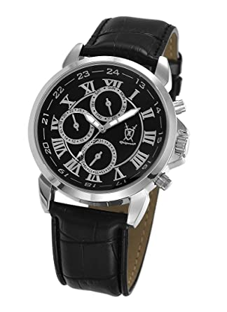 Konigswerk Mens Black Leather Watch Roman Numerals Multifunction Day Date Display AQ202575G