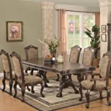 7pc Formal Dining Table and Chairs Set in Brown Cherry Finish Review