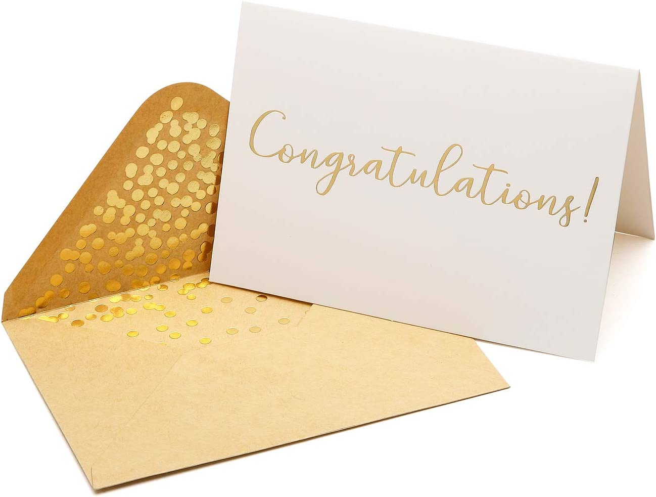 "50 Pack Congratulations Card – Elegant Greeting Cards With ''Congratulations'' Embossed In Gold Foil Letters – For Engagement, Graduation, Wedding - 52 Kraft Envelopes Included - 4"" x 6"" - White"