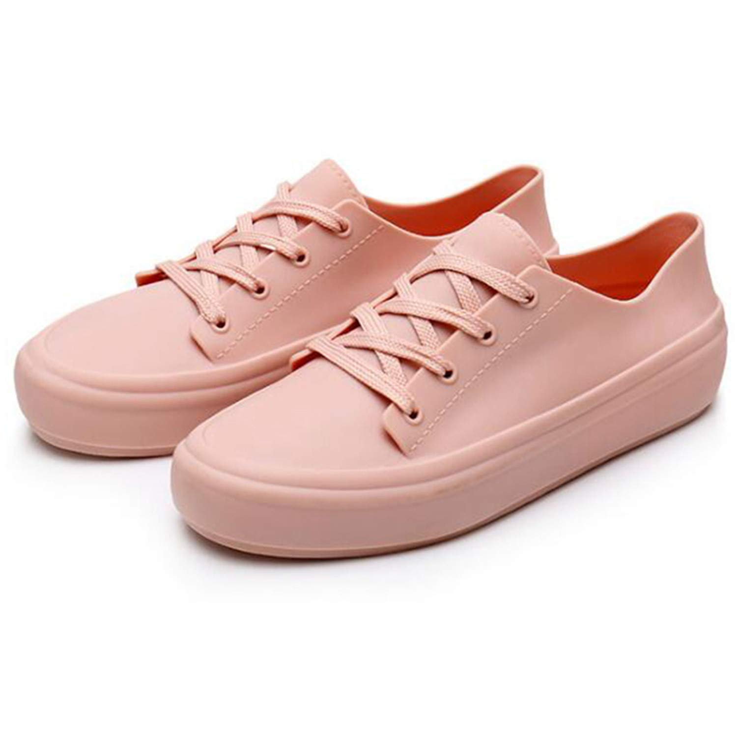 Habitaen Waterproof Women Sneakers White Jelly Shoes Plastic Shoes Platform Lace Up PVC Women Flats