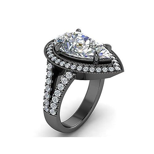 Mejor compromiso anillos de boda en 3,70 ct negro circonita Pear Cut Crystal montado