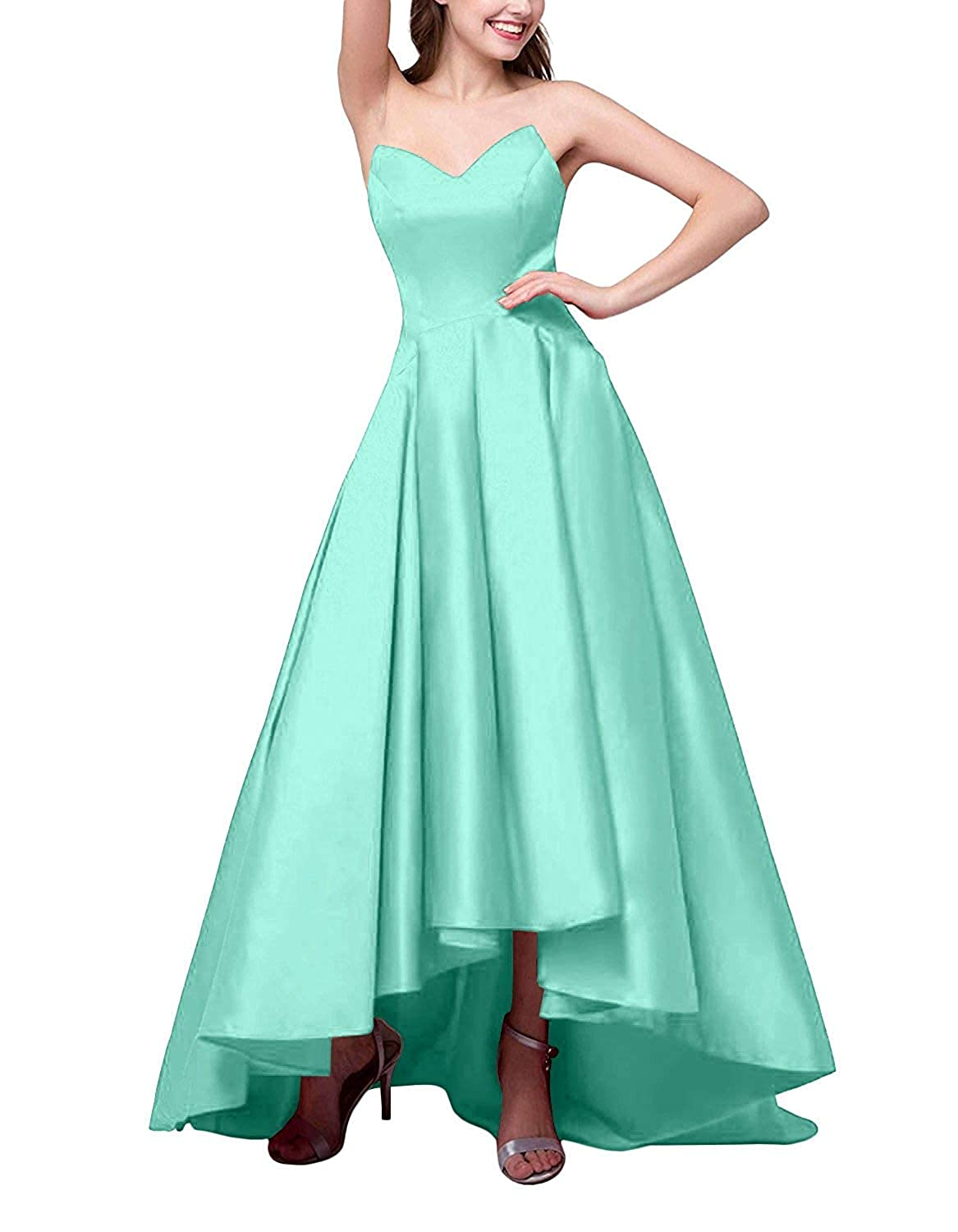 Turquoise ZLQQ Women's V Neck Satin High Low Prom Dresses with Pockets Formal LongEvening Party Gowns