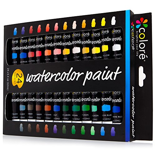 Colore Watercolor Painting Kit, 24 (Medium Pen Knife)