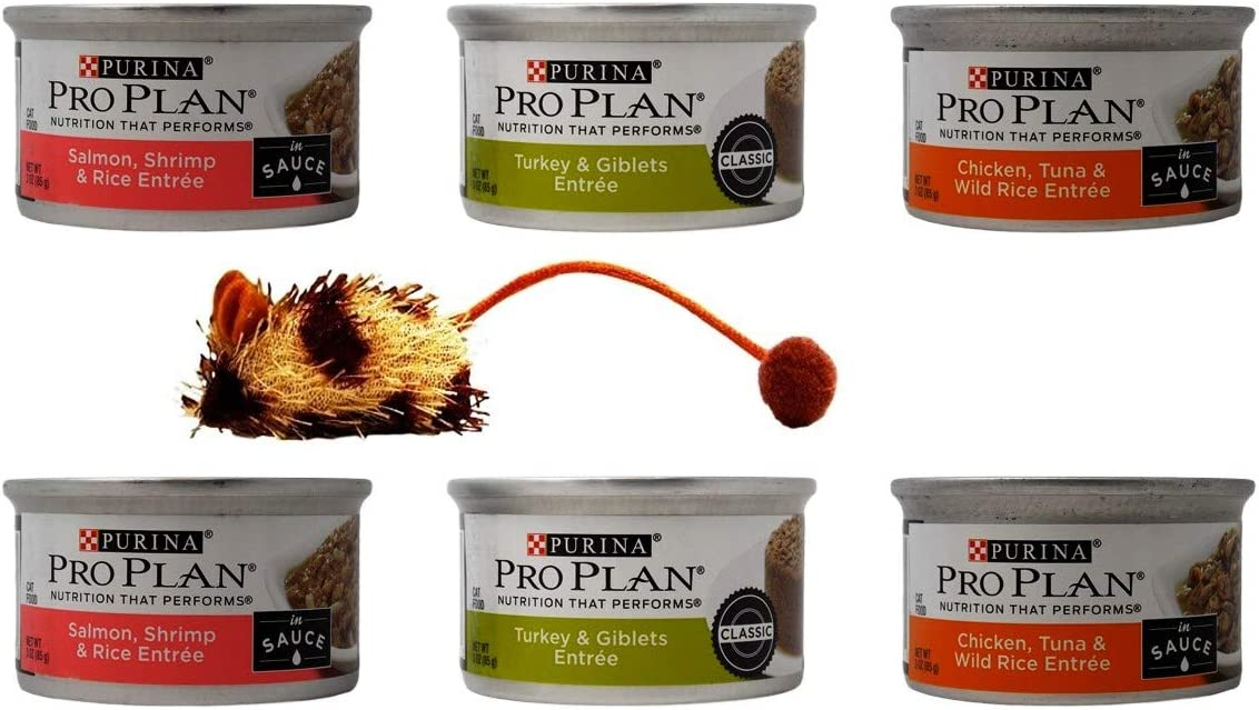 Pro Plan Purina Canned Wet Cat Food Entree 3 Flavor 6 Can with Catnip Mouse Sampler Bundle, (2) Each: Salmon Shrimp Rice, Turkey Giblets, Chicken Tuna Wild Rice (3 Ounces)