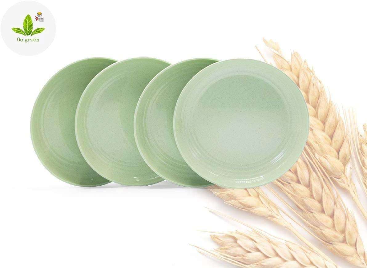 Green Plates by Extreme Consumer Products. Natural and Reusable Wheat Straw Plates – 4 Piece Set – Light Green – Eco-Friendly, Unbreakable, and Lightweight Plates are Ideal for Kids and Active People