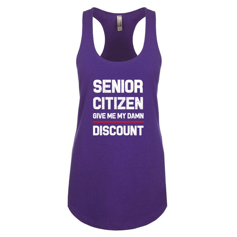 Mad Over Shirts Senior Citizen Give me My Dawn Discount Unisex Premium Racerback Tank top