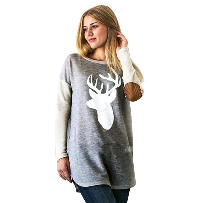 Mujer Blusa Ocasional, GillBerry Moda Ciervos Impreso Camisa Tops Sueltos Camiseta (XL, Gris