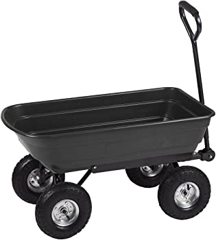 Heavy Duty Poly Black Garden Utility Yard Dump Cart