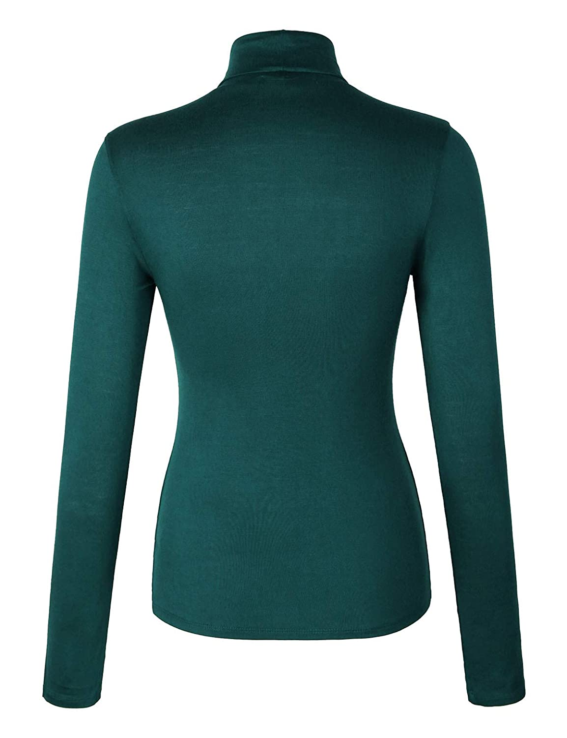 makeitmint Womens Basic Casual Soft Thin Turtle Neck Long Sleeve Knit Top YIL0023-TEAL-LRG