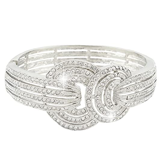 1930s Jewelry | Art Deco Style Jewelry EVER FAITH Wedding Art Deco Bracelet Clear Austrian Crystal $20.99 AT vintagedancer.com