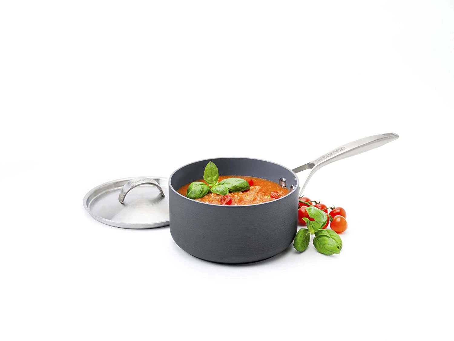 GreenPan Paris 3 Quart Non-Stick Dishwasher Safe Ceramic Covered Sauce Pan
