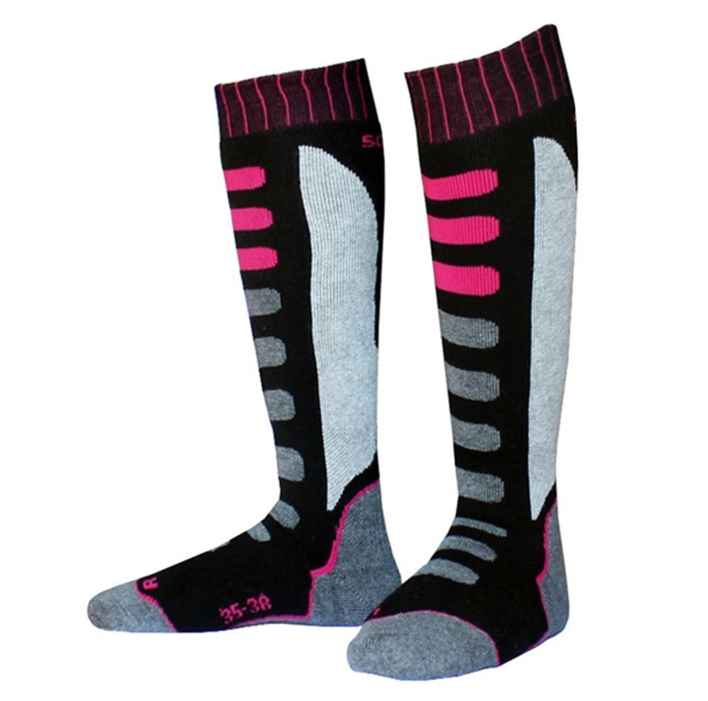 Winter Ski Socks Outdoor Sports Snowboard/Skiing Warm Knee-High Performance Sock Black and Pink 808