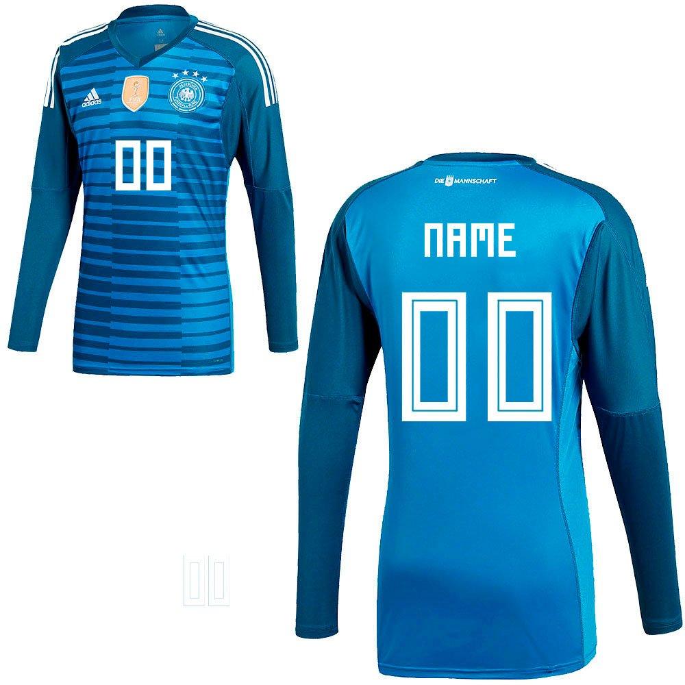 Adidas DFB Deutschland Fußball Torwart Trikot Home WM 2018 Herren Ihr Wunschname blau Gr M