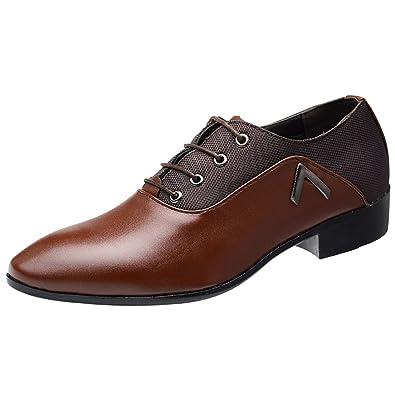 287f7907fd5 wealsex Chaussures de Ville à Lacets Derbies Cuir Homme Bout Pointu  Chaussures D Affaires Classique