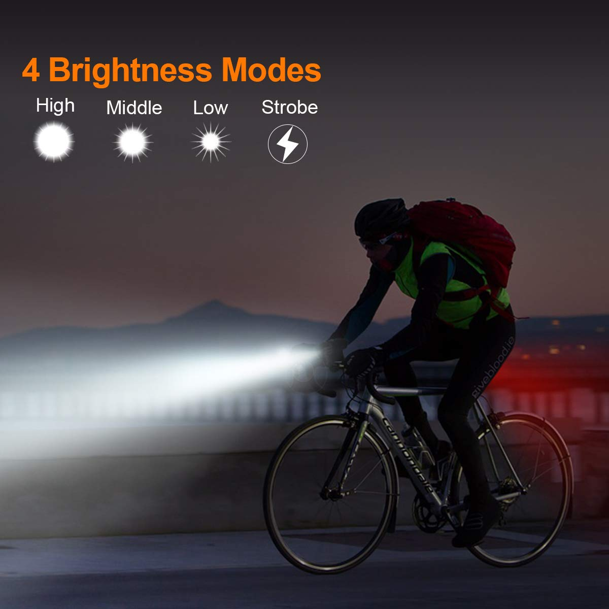 Bonnevie USB Rechargeable Bike Light Set,1500mA Powerful Waterproof Mountain Bicycle Headlight and Taillight Set Super Bright Front Light and Rear Light for Cycling Safety by Bonnevie (Image #8)