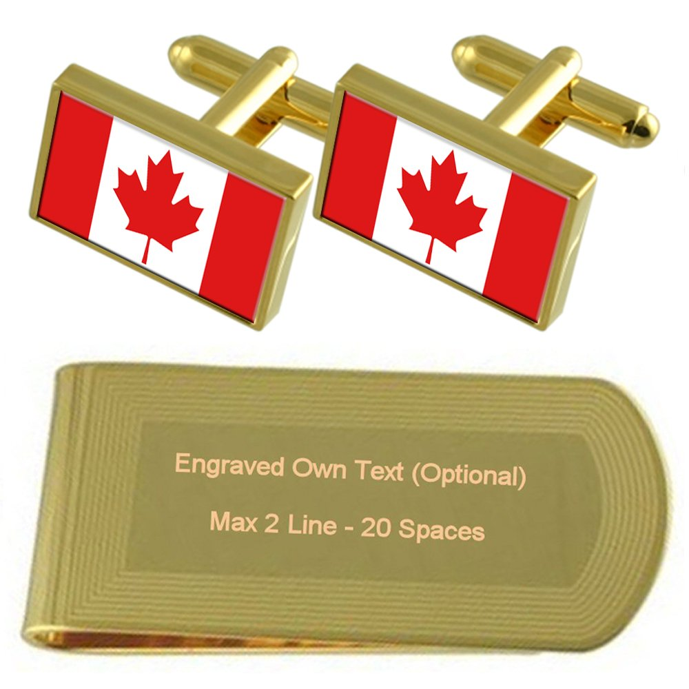Canada Flag Gold-tone Cufflinks Money Clip Engraved Gift Set