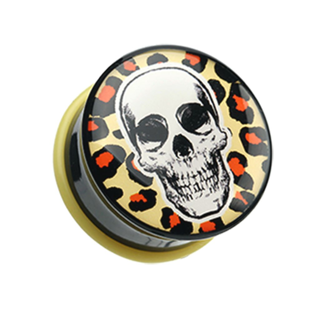 Leopard Skull Single Flared Plugs Sold as Pairs