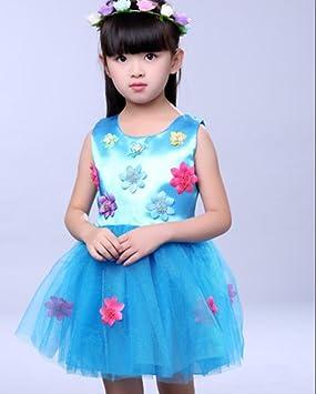 Vestido de Niño Vestidos Vestidos Faldas de Danza Moderna Rosa/Azul, 110cm, Blue