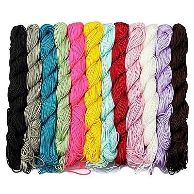LolliBeads (TM) 1 mm Polyester Nylon Beading Knotting Cord Shamballa Macrame String Chinese Wax Cord