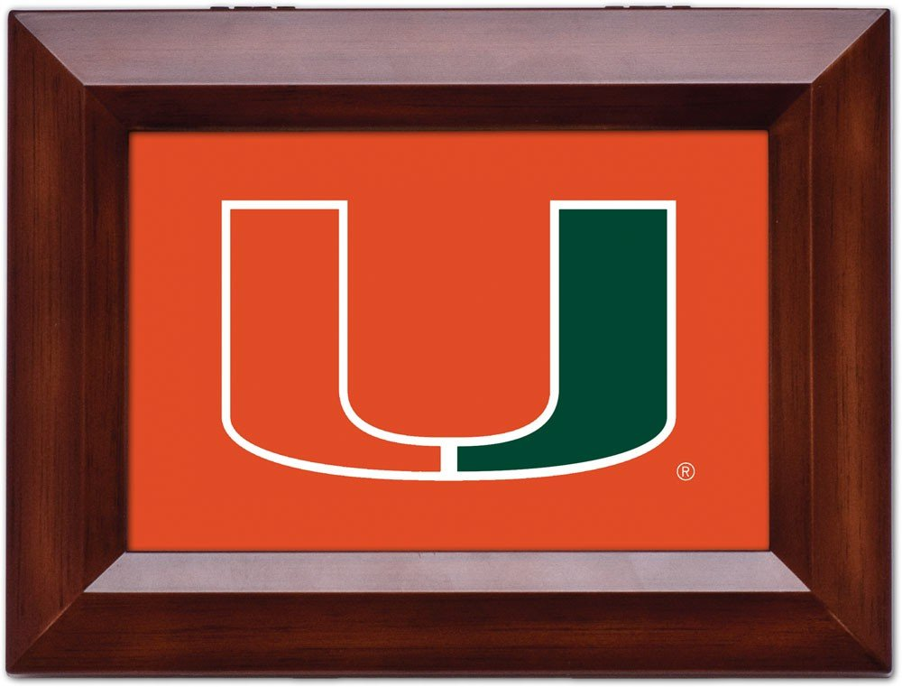 Cottage Garden University Of Miami Woodgrain Digital Fight Song Music Box / Jewelry Box Plays School Fight Song
