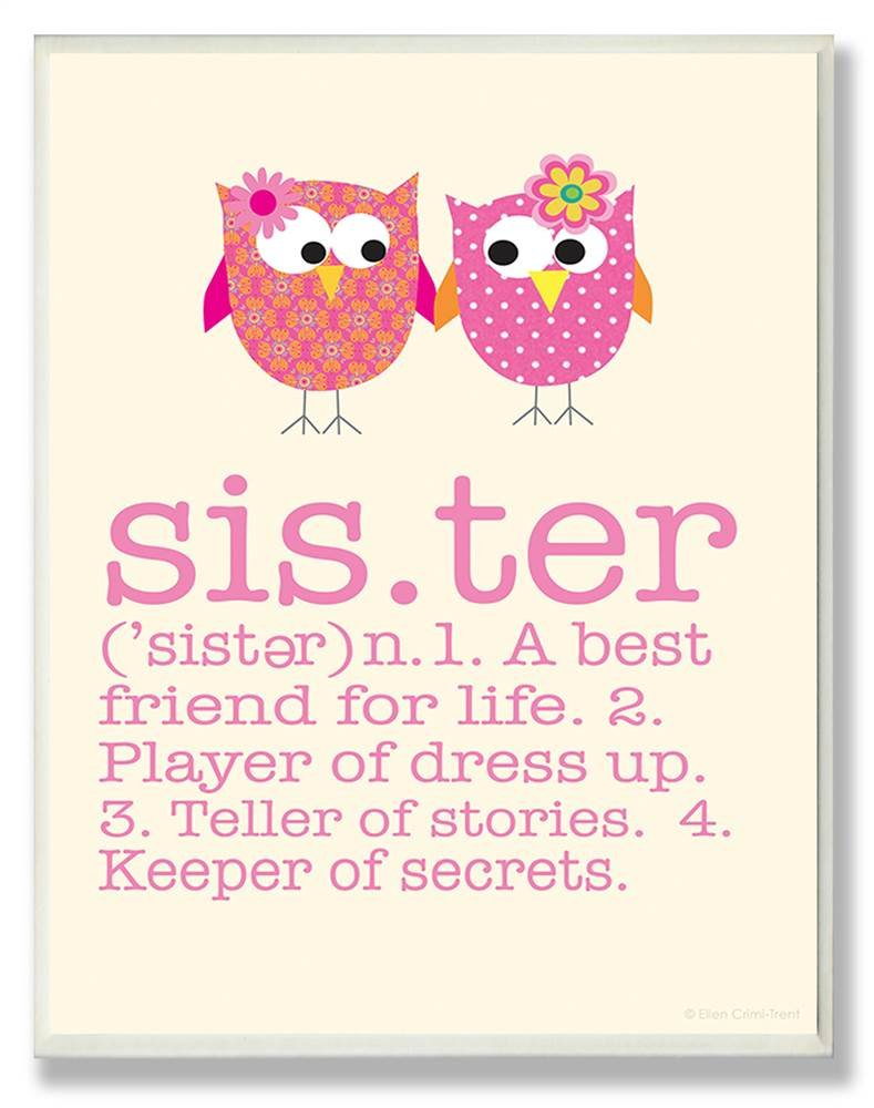 The Kids Room by Stupell Definition of Sister with Pink Owls Rectangle Wall Plaque, 11 x 0.5 x 15, Proudly Made in USA by The Kids Room by Stupell