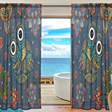 SEULIFE Window Sheer Curtain Tribal Animal Owl Boho Floral Voile Curtain Drapes for Door Kitchen Living Room Bedroom 55x78 inches 2 Panels