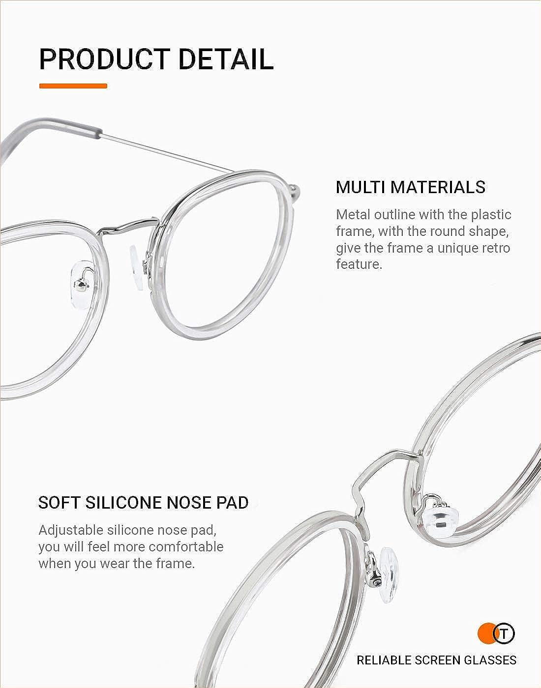 TIJN Blaulichtfilter Brillen Brillen ohne sehst/ärke Computer Brillen Gaming Brillen f/ür PC Handy Metallrahmen anti Sch/ädlichen Strahl Damen Herren