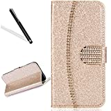 Wallet Case for Huawei P20 Lite,Bling Glitter Folio Case for Huawei P20 Lite,Leecase Luxury Noble Sparkle Shining Gold Chain Design Cover for Huawei P20 Lite