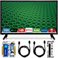 """Vizio D24-D1 D-Series 24"""" Class Edge-Lit LED Smart TV Essential Accessory Bundle includes Television, Screen Cleaning Kit, Power Strip with Dual USB Ports and 2 HDMI Cables"""