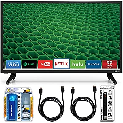 "Vizio D24-D1 D-Series 24"" Class Edge-Lit LED Smart TV Essential Accessory Bundle includes Television, Screen Cleaning Kit, Power Strip with Dual USB Ports and 2 HDMI Cables"