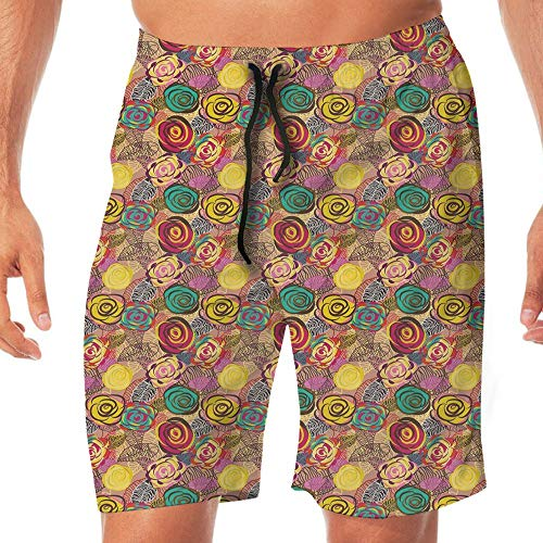 Haixia Mens Lightweight Swimming Trunks Abstract Surreal Floral Arrangement Lil by Haixia