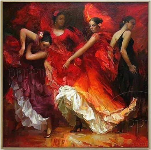 YDDFSGGFDSG Obra de Arte Superior Pintor Pintado a Mano Bailarín de España Baile Flamenco Pintura al óleo Impresionista Bailarina de Flamenco Retratos Pintura: Amazon.es: Hogar