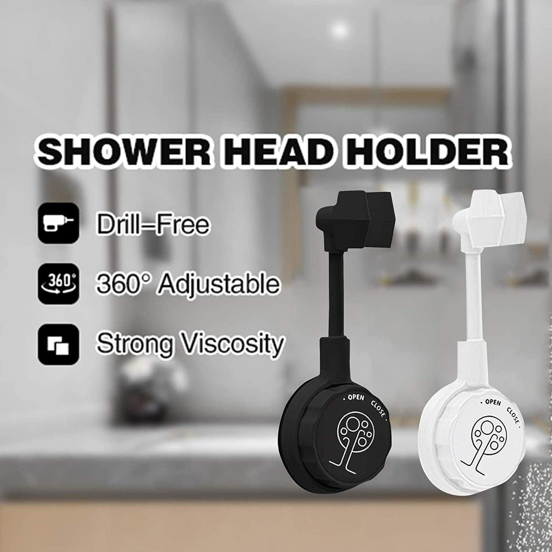 Universal Adjustable Shower Bracket Black+White// 2PCS Flexible 360/° Adjustable Rotatable Shower Head Wall Mount Holder No Drilling Bathroom Accessories Handheld Shower Head Holder